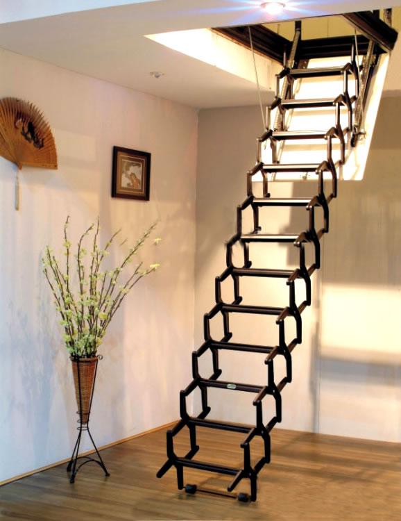 专业阁楼楼梯厂家 大连阁楼电动楼梯价格 手动伸缩楼梯