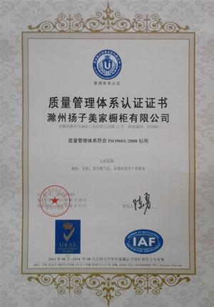 扬子橱柜质量体系认证