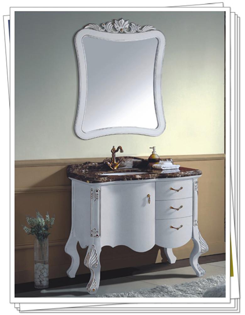 拓陶卫浴简欧落地式浴室柜 大理石台面洗面盆储物柜