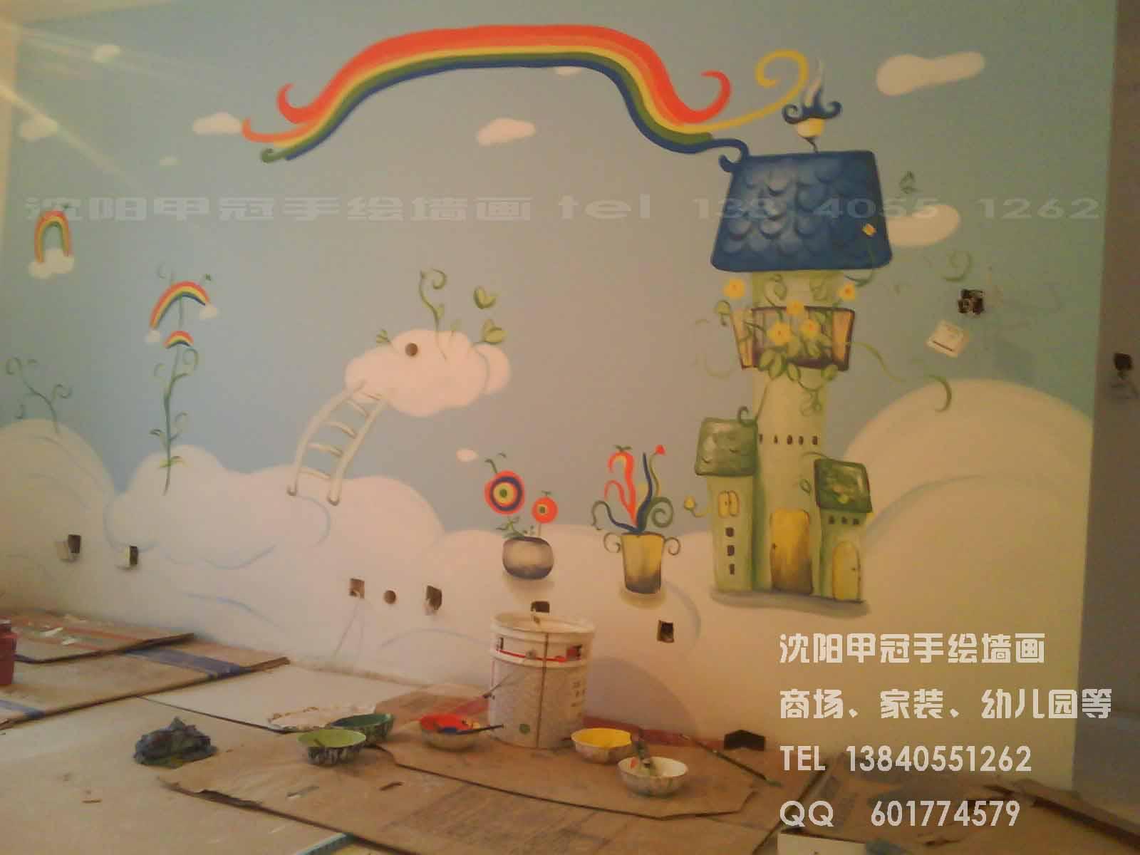沈阳墙体彩绘/家庭个性墙画/电视背景墙手绘墙画