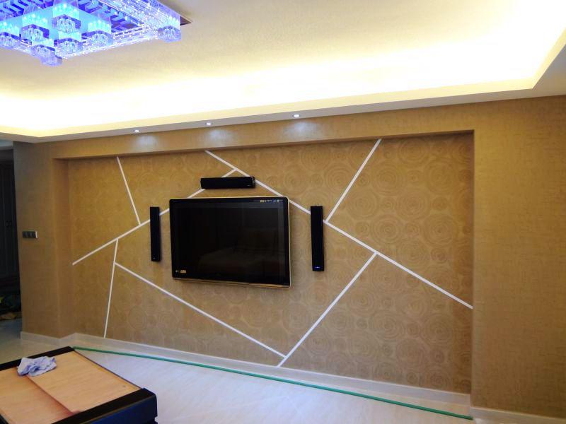 华强城硅藻泥电视背景墙效果图