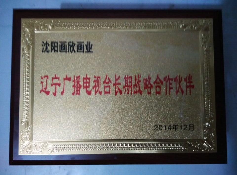 辽宁电视台合作证书