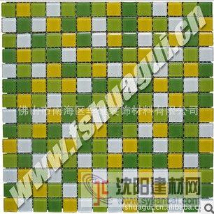 2公分绿黄白色水晶玻璃马赛克浴室