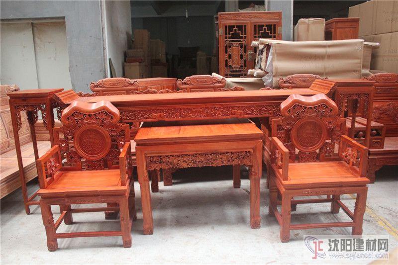古典紅木家具 靈芝中堂六件套 緬甸花梨