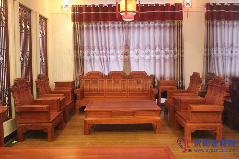 红木家具实木沙发非洲缅甸花梨木喜从天降沙发中式