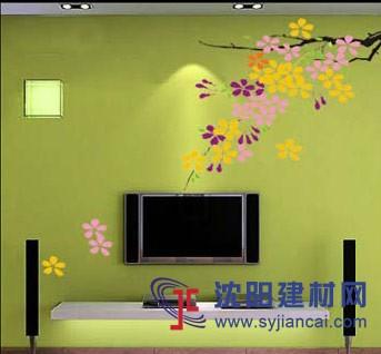 沈阳碧然硅藻泥背景墙效果图植物简画2