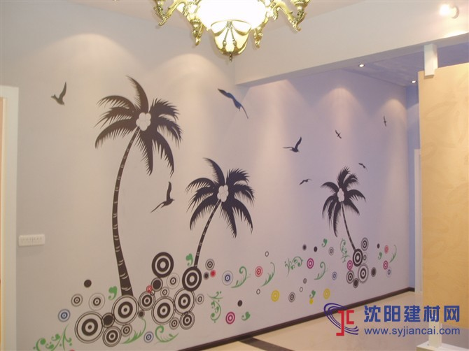 沈阳碧然硅藻泥背景墙效果图植物简画6-产品展示 沈阳碧然硅藻泥