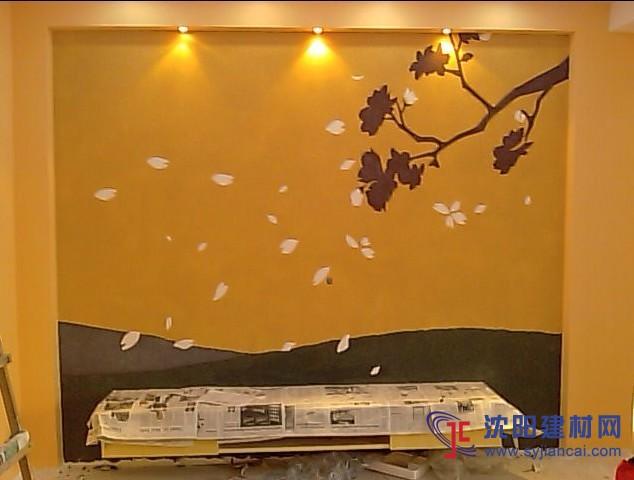 沈阳碧然硅藻泥背景墙效果图对角花藤9-产品展示 沈阳碧然硅藻泥
