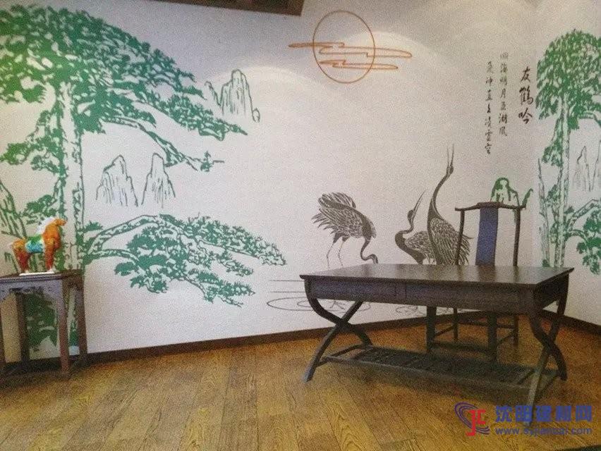 沈阳碧然硅藻泥背景墙效果图古风字画4