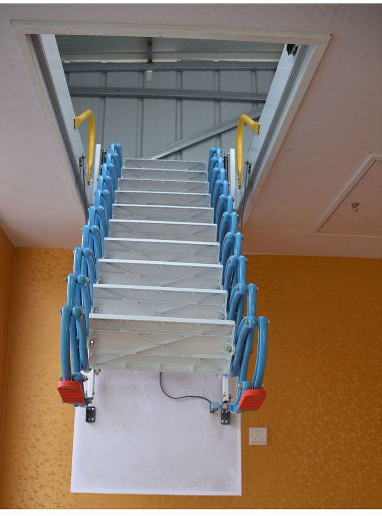 扬州阁楼电动楼梯 小阁楼伸缩楼梯价格 遥控伸缩楼梯
