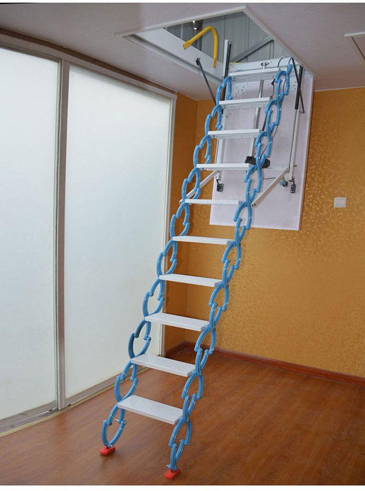 阁楼伸缩梯子价格 阁楼电动楼梯 北京电动阁楼楼梯厂家