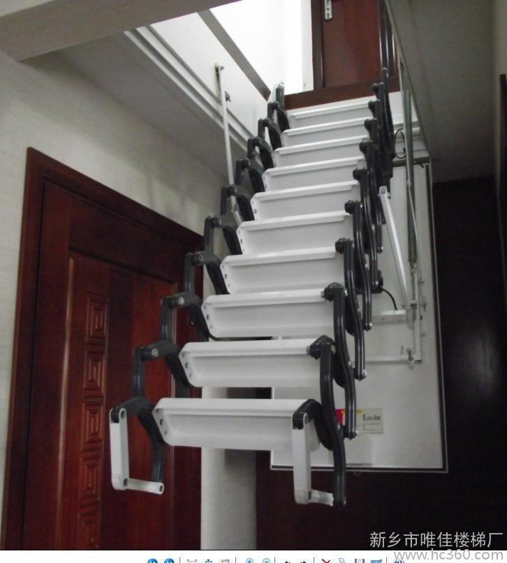 阁楼自动伸缩楼梯图片 隐藏式伸缩楼梯 浙江伸缩楼梯