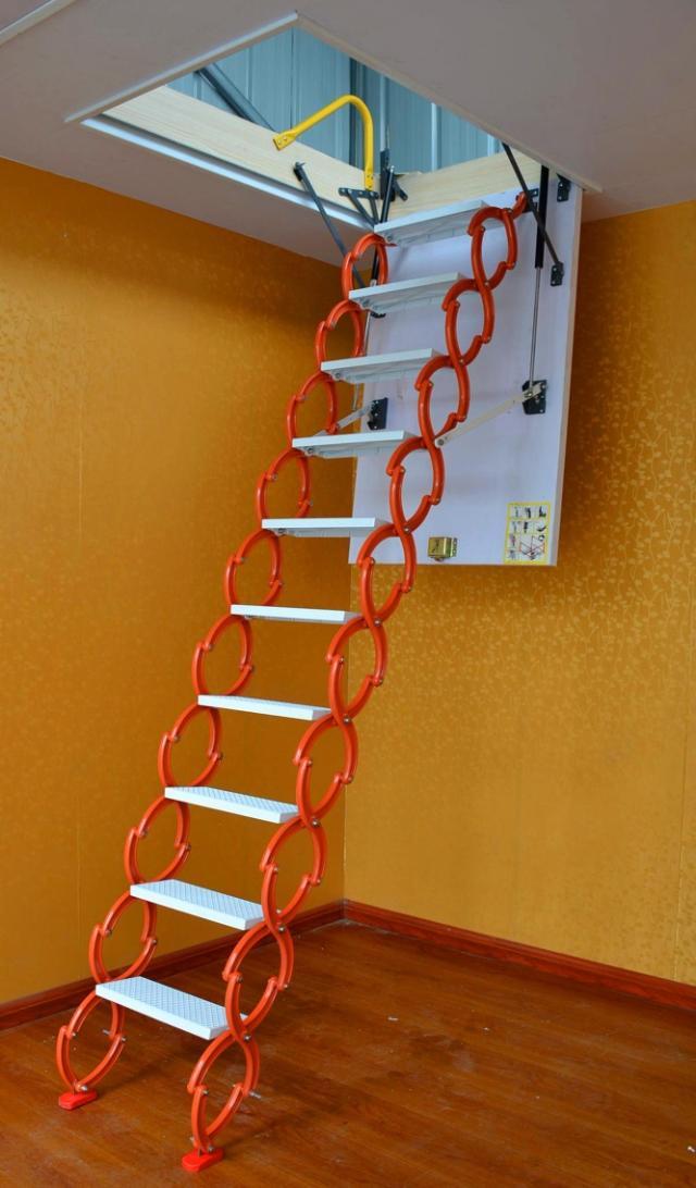 山东济南阁楼楼梯 电动伸缩式楼梯价格 阁楼伸缩梯子