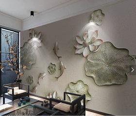 宅邸印象彩雕艺术背景墙