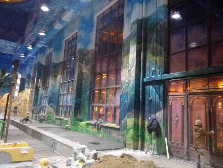 大型游乐场洗浴中心彩绘墙画