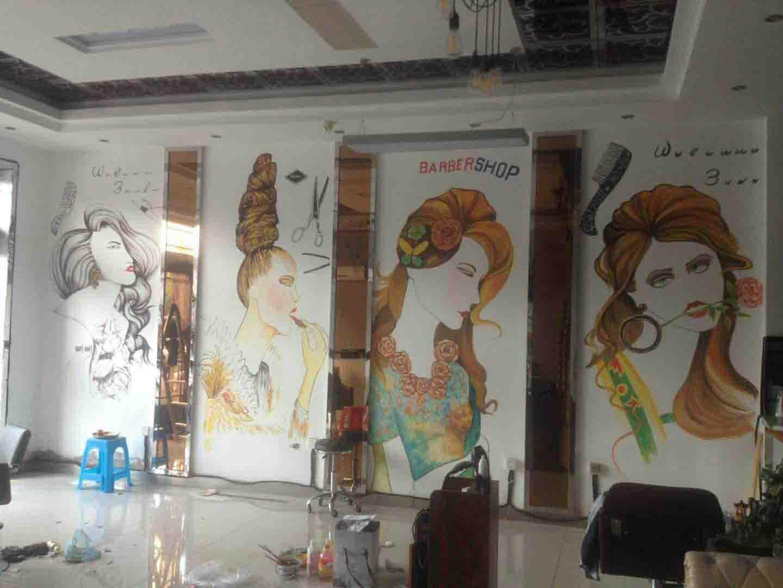 理发店发型设计墙壁绘画、彩绘、壁画、装饰画