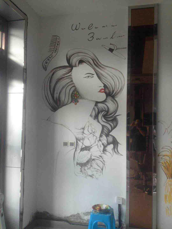 美发理发背景墙彩绘