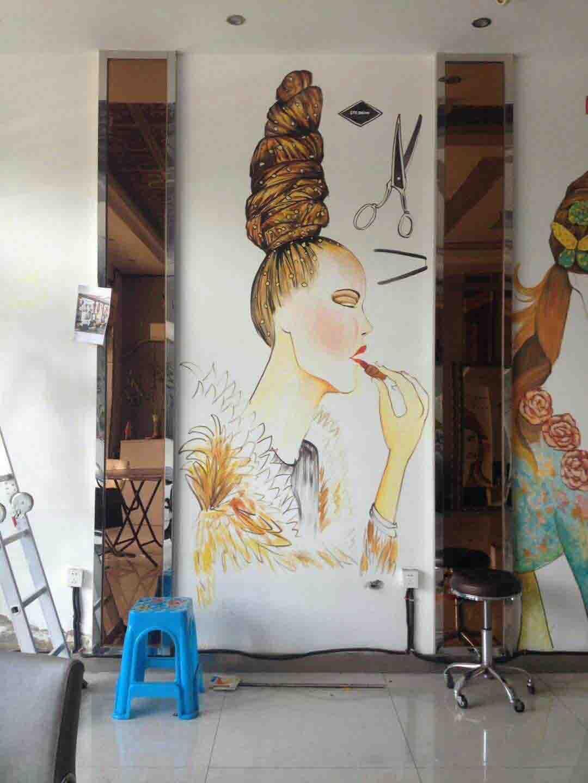 发型设计装饰画、油画、墙画