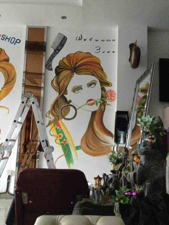 发型造型设计手绘墙画、美发图案