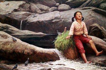 乡村童年油画