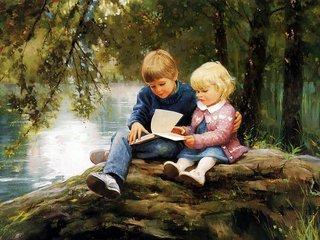 金色童年油画