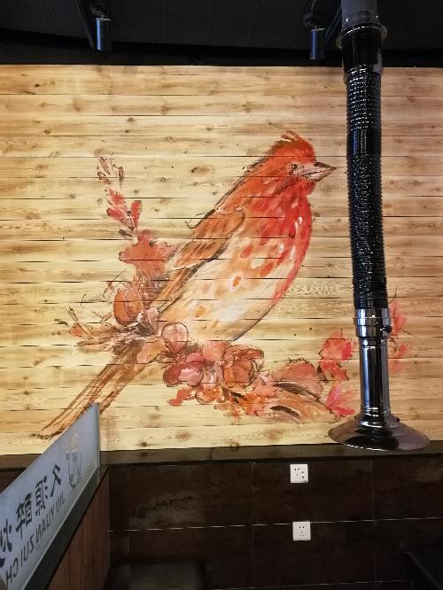 烤肉店手绘墙画