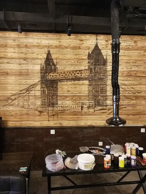烧烤串店烤肉饭店手绘墙画