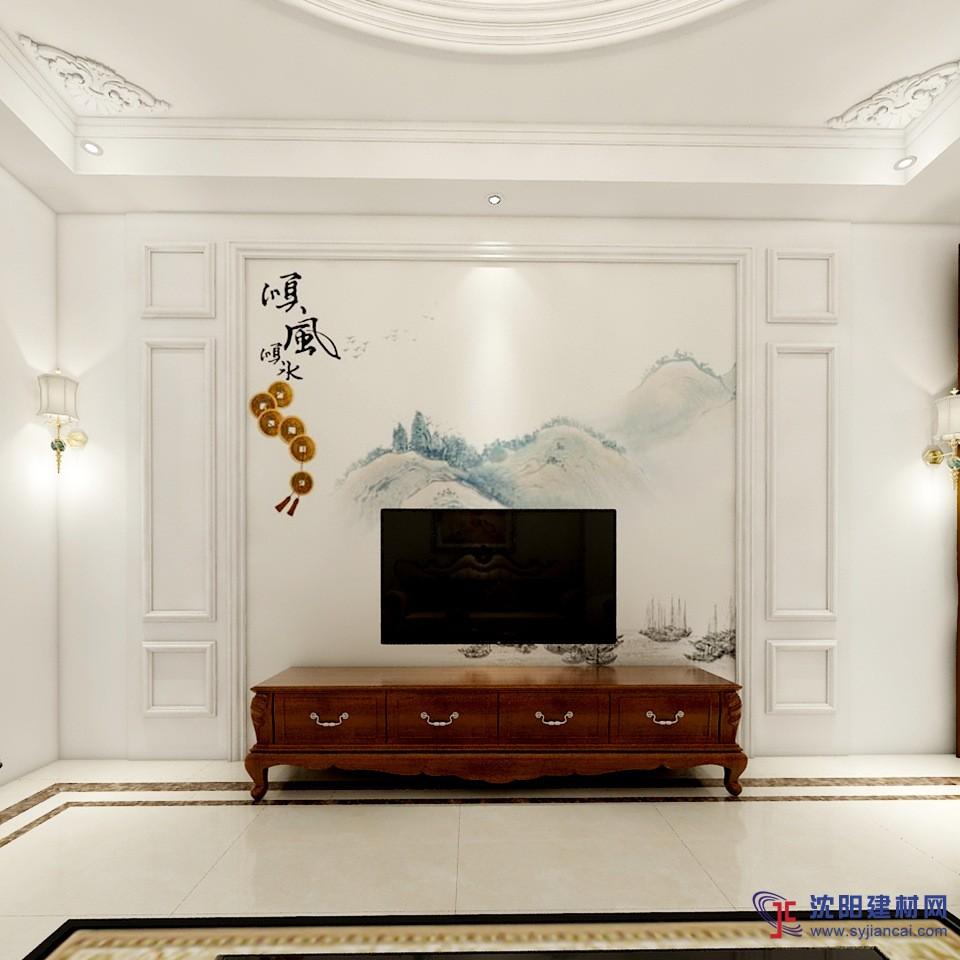 简结风景画电视背景墙 天然大理石罗马柱护墙板