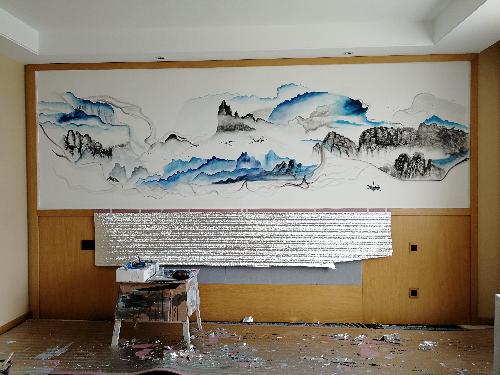 长白山酒店客房壁画绘制