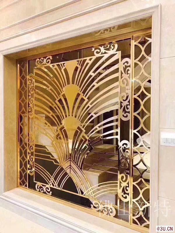 现代家装铝板雕刻屏风室内玫瑰金隔断定制厂家