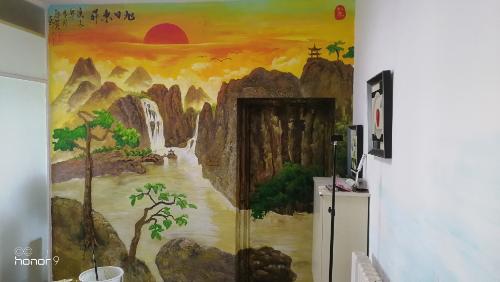 浮雕手绘墙画