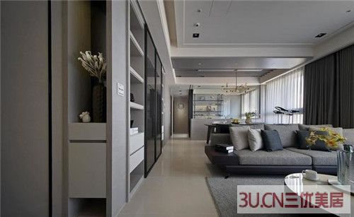 明亮简洁的现代家居案例 灰白色石材、灰镜、裱布